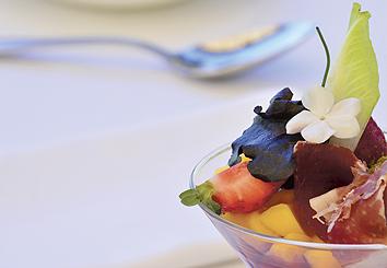 Foto Receta Cóctel de Mango Trops con Jamón Ibérico y Nieve de Pistacho