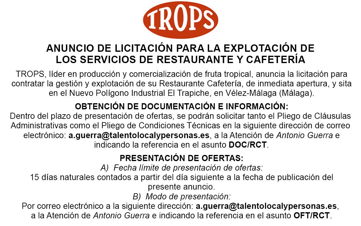 Anuncio Oficial Licitación Restaurante Cafetería Trops